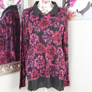 3/$35 Investments Red Flower Bloom Knit Sweater